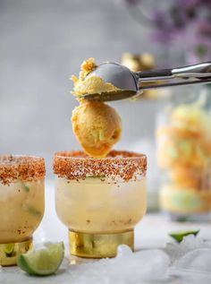 These margarita floats are super refreshing and delish for summer! Served on the rocks with a scoop of sorbet or sherbet, they are icy perfection. A chili lime rim takes this fun cocktail over the top. Homemade Desserts, Best Dessert Recipes, Fun Desserts, Cocktail Desserts, Fun Cocktails, Cocktail Recipes, Most Pinned Recipes, Most Popular Recipes, Lime Sherbet