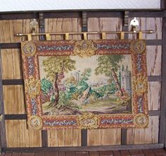 Tudor Dollhouse Tapestry Swan and Dog 1:12 by WhimsyWooMiniatures