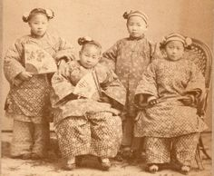 Historic 1870s Shanghai China Cabinet Card 4 Children in Chinese Dress All Id'd!  Two girls in front appear yo have bound feet, cannot tell about child on left (a beauty, BTW). Child in back a boy??  4 lovely children.