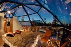If you want to enjoy the charming sight of the stars and the sky while you gently fall asleep, then such like beautiful bedroom designs would fit you best. The design is found at the Kakslauttanen Hotel in Finland and it features dome-shaped ceiling with Beautiful Bedroom Designs, Beautiful Bedrooms, Igloo Village, Luminaire Original, Unusual Hotels, Sleeping Loft, Awesome Bedrooms, Home Interior, Interior Design