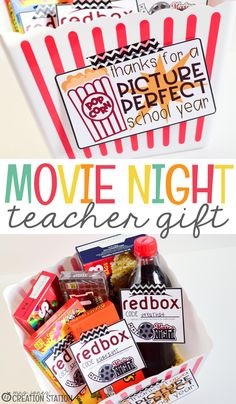 This educator gift is the perfect way to treat your co-workers, kids' teachers or administrators to a movie night in with their favorite shows and movies. Movie Basket Gift, Movie Night Gift Basket, Movie Gift, Theme Baskets, Themed Gift Baskets, Birthday Gift Baskets, 10 Secret Santa Gifts, Teacher Gift Baskets, Teacher Christmas Gifts