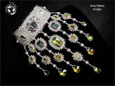 Bead Embroidery Necklace Wedding Bridal Silver Bead Embroidered Swarovski BOTB 1st round winner. $465.00, via Etsy.