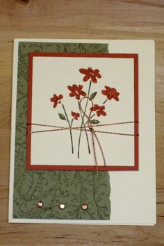 Hand stamped greeting card with copper cord and metal embellishments by Michelle Dixon, Stampin' Up!