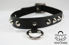 Black Spiked O-Ring Choker Collar by Taypop on Etsy