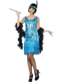 Flirty Flapper Costume, This delightful teal blue sequined flapper costume is perfect for your trip to the roaring twenties! Another great fancy dress outfit from the 20s Razzle Dazzle Collection.
