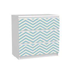 Stickers commode MALM 3 tiroirs. Stickers décoratifs Chevron bleu écru autocollants pour meuble Ikea.