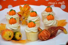 Pumpkin cupcakes at a Thanksgiving party! See more party planning ideas at CatchMyParty.com!