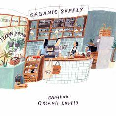 Organic Supply, Bangkok Illustration by Moreparsley Spot Illustration, Digital Illustration, Organic Supplies, Posca Art, Illustrations And Posters, Cute Art, Bangkok, Illustrators, Art Drawings