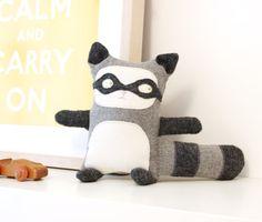 Raccoon Plush  Nursery Decor  EcoFriendly  Upcycled von Cabane,