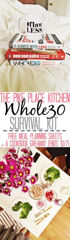 """a """"survival kit"""" of all the tips/tricks/things I wish i knew before/at the beginning of my whole30. Including free meal planning & grocery list templates & a list of emergency """"omg i need fooood HALLPP"""" meals the blog is hosting a giveaway until 10/7/15 & repinning counts as an entry! to enter comment on the post letting me know which of the four books you'd most like to win! (don't forget to hit the rafflecopter button that says you commented & """"shared with friends"""" if you repinned this!)"""