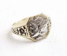 Antique 10k Yellow Gold & Silver Mercury Dime Coin Ring - 1920s Art Deco Size 10 Men's Flower Design Winged Lady Liberty Head Jewelry by Maejean Vintage on Etsy, $375.00