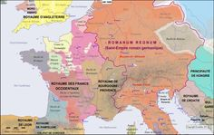 Map of the Pyrenees-Rhine in the year 1000
