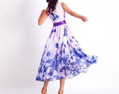 Blue floral chiffon maxi dress0165 by xiaolizi on Etsy, $69.00