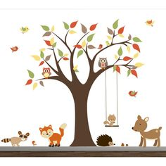 Children Wall Decals for Nursery-Tree With Forest Animals ($139) ❤ liked on Polyvore featuring home & living, home décor, silver, wall decals & murals and wall décor