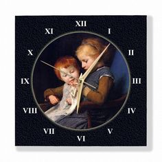 The Little Knitters Albert Anker Special Design Wall Clock. Buy this canvas print Wall Clock from Modarty Art Gallery #art, #canvas, #design, #painting, #print, #poster, #decoration, #wallclock