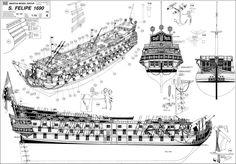Quinze marins sur le bahut du mort...: Plan San Felipe 2ème partie Model Sailing Ships, Model Ships, Hms Victory, Ship Paintings, Boat Plans, Tall Ships, Boat Building, Underwater, Scale Models