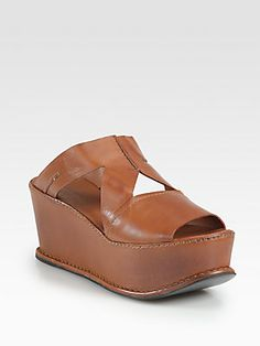 Costume National Leather Platform Wedge Sandals