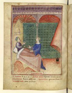 Nouvelle acquisition latine 1673, fol. 51v, Aliment: bouillie d'orge. Tacuinum sanitatis, Milano or Pavie (Italy), 1390-1400.