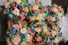 Shelly's Wedding flowers - rainbow roses