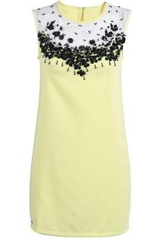 Yellow Round Neck Sleeveless Bead Slim Dress EUR€24.04