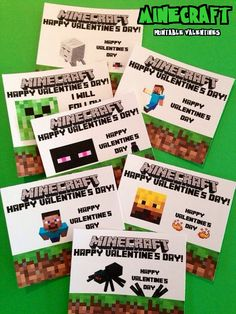 Printable Minecraft Valentines Day Cards - just print & cut! :)  #minecraft #minecraftvalentine #valentine