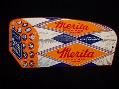 "Merita Bread Door Push Sign (Vintage 1950 Grocery Store Advertising Signs, ""Enriched White Bread"")"