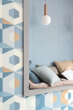 Create a modern and artistic ambience on your walls with this colour block style geometric design. Order your samples today from WallpaperDirect and see the complete collection. Teal Wallpaper, Blue Wallpapers, Colour Block, Color Blocking, Blue Feature Wall, Decorative Walls, Old Suitcases, Vintage Children, Beach House