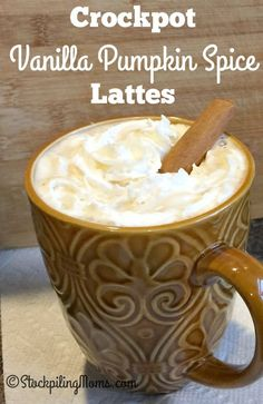 Crockpot Vanilla Pumpkin Spice Lattes recipe is so creamy and taste delicious!