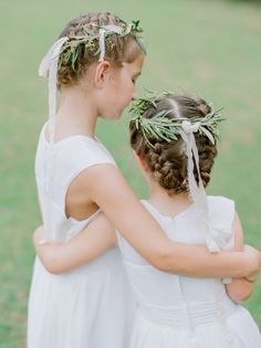 Tuscan-inspired flower girls: http://www.stylemepretty.com/florida-weddings/crestview/2015/10/01/elegant-tuscan-inspired-backyard-wedding-in-florida/ | Photography: Jana Williams - http://jana-williams.com/