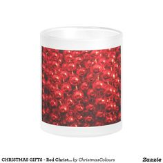 CHRISTMAS GIFTS - Red Christmas Ornaments Frosted Glass Mug