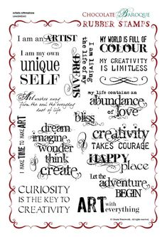 Chocolate Baroque - Stamp Set - Artistic Affirmations from Time To Create in Australia Take a look at this marvellous set of phrases and sentiments. Perfect for journalling for ATC's and mixed media project too! Scrapbook Quotes, Scrapbook Titles, Sleeping Fox, Affirmations, Clay Stamps, Images Vintage, Custom Rubber Stamps, Card Sentiments, Bullet Journal Ideas Pages