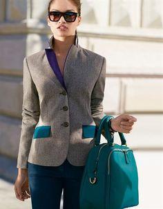 Herringbone blazer. Pure new wool, Handbag