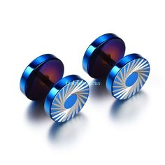 pair Stainless Steel 3 Color with Blue Rubber Rose Flower Stud Earrings