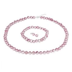 $14.99 - 8mm Freshwater Pink Pearl Set - Necklace, Bracelet & Earrings in Sterling Silver