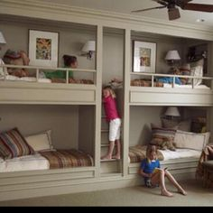 I like the built-in bunks with central stairs between bunks. traditional-home-bunk-room Bunk Beds Built In, Kids Bunk Beds, Loft Beds, Built In Beds For Kids, Canopy Beds, Cool Kids Rooms, Bunk Rooms, Bedding Inspiration, Room Inspiration