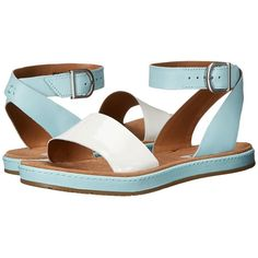 Clarks Romantic Moon (Light Blue) Women's Sandals ($120) ❤ liked on Polyvore featuring shoes, sandals, clarks shoes, leather upper shoes, clarks sandals, clarks and clarks footwear