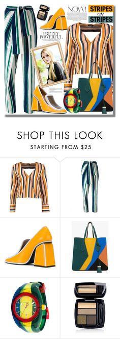 """Pattern Challenge: Stripes on Stripes"" by pesanjsp on Polyvore featuring Boohoo, Chloé, Marni, Gucci, Avon, stripesonstripes and PatternChallenge"