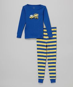 Look at this Blue & Yellow Cement Truck Pajama Set - Toddler & Boys on #zulily today!