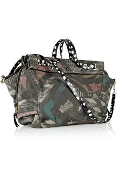 Jérôme Dreyfuss|Carlos elaphe and leather-trimmed printed canvas tote|NET-A-PORTER.COM