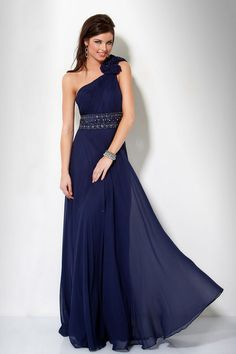 Sexy Back Prom Dress Sheath/Column One Shoulder Floor Length Chiffon Beading/Sequins Ruffles