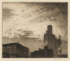 Martin Lewis, Skyline, New York, 1919, etching and drypoint.  The Old Print Shop