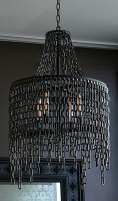 Halloween style!! DIY!! Gothic Style Chandelier for your Home! Black Chain Chandelier