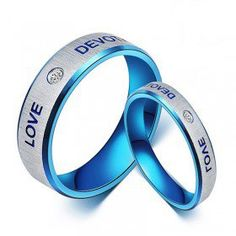 """Titanium Steel Blue Promise Ring for Couples with Words """"Love Devotion"""""""