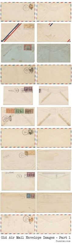 Old Air Mail Envelopes Part 1 - Free Hi-Res Images. Images are approximately 6000x3500 pixels each. Nice.