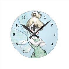 Tinker Bell | Arms Crossed Pastel Round Clock