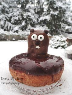 groundhog's day, groundhog's day treat, groundhog's day cute, punxsutawney phil breakfast, groundhog donut, chocolate spoon, groundhog spoon, groundhog party, groundhog snack