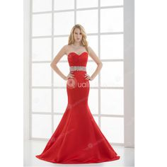 Red Satin Beading Strapless Mermaid Floor Length Evening Dress  148.99  Engagement Dresses 8d7d46b33cad