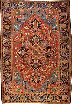 Persian Heriz rug, large central medallion, two anchors, red and blue ground, 230x340 cm., Tiroche Auction House