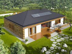 Projekt domu AC EX 8 (wersja B) soft CE - DOM - gotowy koszt budowy House Outside Design, Simple House Design, Village House Design, Village Houses, Morden House, 4 Bedroom House Designs, Bungalow Style House, Beautiful House Plans, Model House Plan