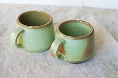 Pair of Vintage Frankoma Mugs - Westwind Prairie Green